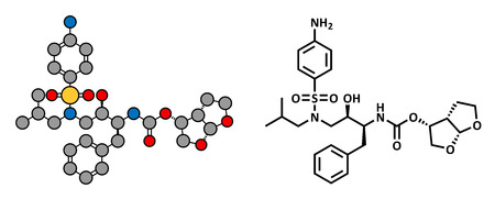 protease: Darunavir HIV drug (protease inhibitor class), chemical structure. Conventional skeletal formula and stylized representation, showing atoms (except hydrogen) as color coded circles.