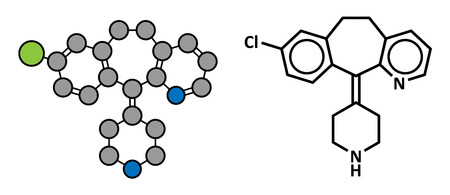 antihistamine: Desloratadine antihistamine drug, chemical structure. Used to treat hay fever, urticaria and allergies. Conventional skeletal formula and stylized representation, showing atoms (except hydrogen) as color coded circles.