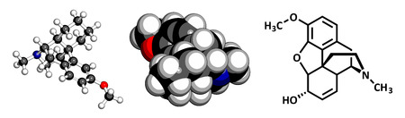 opioid: Dextromethorphan cough suppressant drug (antitussive), chemical structure. Conventional skeletal formula and stylized representation, showing atoms (except hydrogen) as color coded circles. Illustration