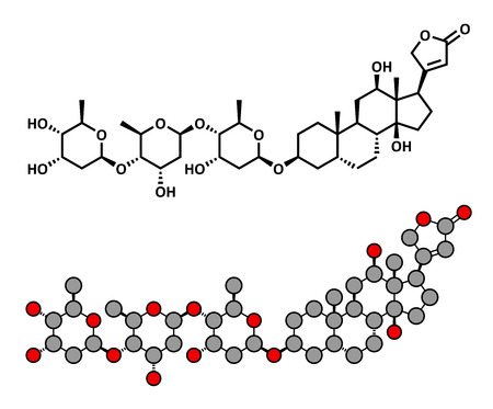 atrial: digoxin heart failure drug, chemical structure. Extracted from foxglove plant (digitalis lanata) Conventional skeletal formula and stylized representation, showing atoms (except hydrogen) as color coded circles.