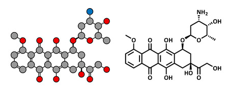 chemotherapy drug: Doxorubicin cancer chemotherapy drug, chemical structure. Conventional skeletal formula and stylized representation, showing atoms (except hydrogen) as color coded circles.