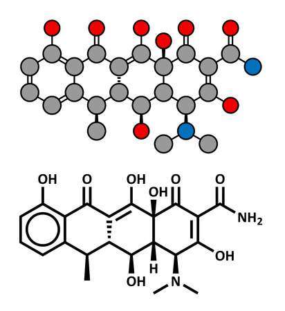 lyme: Doxycycline antibiotic drug (tetracycline class), chemical structure. Conventional skeletal formula and stylized representation, showing atoms (except hydrogen) as color coded circles. Illustration