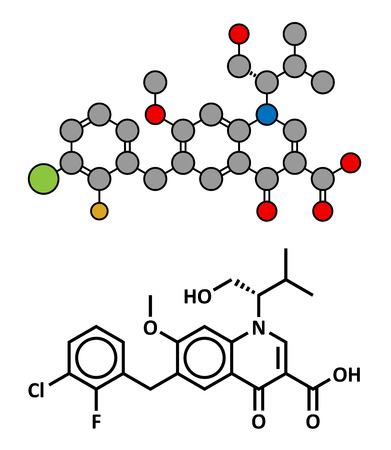 immunodeficiency: Elvitegravir HIV treatment drug (integrase inhibitor), chemical structure. Conventional skeletal formula and stylized representation, showing atoms (except hydrogen) as color coded circles. Illustration