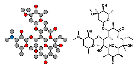Erythromycin antibiotic drug (macrolide class), chemical structure Conventional skeletal formula and stylized representation, showing atoms (except hydrogen) as color coded circles.