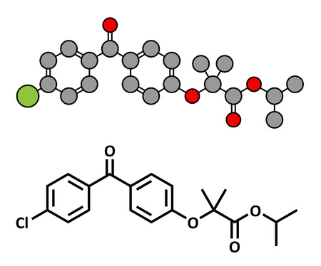 lowering: Fenofibrate cholesterol lowering drug (fibrate class), chemical structure. Conventional skeletal formula and stylized representation, showing atoms (except hydrogen) as color coded circles.