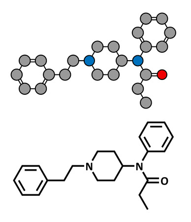 analgesia: Fentanyl (fentanil) opioid analgesic drug, chemical structure. Conventional skeletal formula and stylized representation, showing atoms (except hydrogen) as color coded circles.