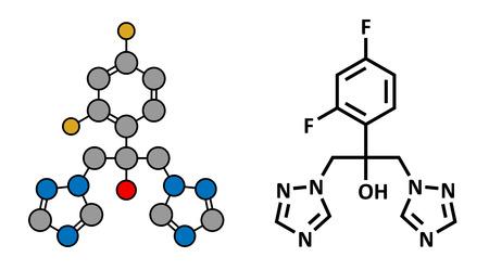skin infections: F�rmaco antif�ngico fluconazol (clase triazol), estructura qu�mica. F�rmula convencional esquel�tico y representaci�n estilizada, mostrando �tomos (excepto el hidr�geno) como c�rculos de color codificado.