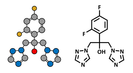 fungal: Fluconazole antifungal drug (triazole class), chemical structure. Conventional skeletal formula and stylized representation, showing atoms (except hydrogen) as color coded circles.