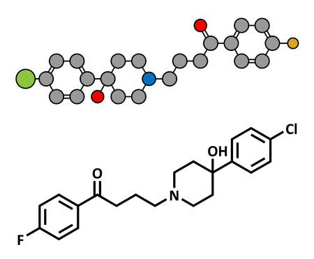 psychotic: Haloperidol antipsychotic (neuroleptic) drug, chemical structure. Conventional skeletal formula and stylized representation, showing atoms (except hydrogen) as color coded circles.