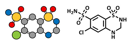 diuretic: Hydrochlorothiazide diuretic drug, chemical structure. Conventional skeletal formula and stylized representation, showing atoms (except hydrogen) as color coded circles.