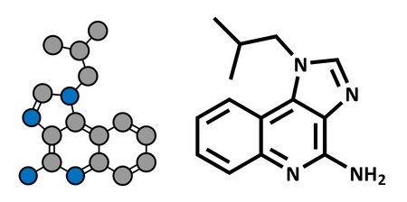 Imiquimod topical skin cancer drug, chemical structure. Conventional skeletal formula and stylized representation, showing atoms (except hydrogen) as color coded circles.  Illustration