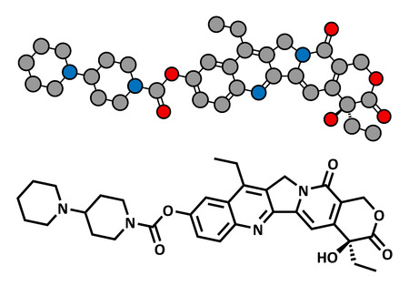chemotherapy drug: Irinotecan cancer chemotherapy drug, chemical structure. Conventional skeletal formula and stylized representation, showing atoms (except hydrogen) as color coded circles.