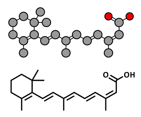 Isotretinoin acne treatment drug, chemical structure. Known to be a teratogen (causes birth defects). Conventional skeletal formula and stylized representation, showing atoms (except hydrogen) as color coded circles.