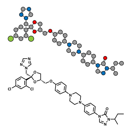 itraconazole: Itraconazole antifungal drug (triazole class), chemical structure. Conventional skeletal formula and stylized representation, showing atoms (except hydrogen) as color coded circles.