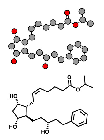 ocular diseases: Latanaprost glaucoma drug, chemical structure. Conventional skeletal formula and stylized representation, showing atoms (except hydrogen) as color coded circles.