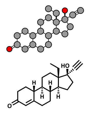 contraceptive: Levonorgestrel contraceptive pill drug, chemical structure. Conventional skeletal formula and stylized representation, showing atoms (except hydrogen) as color coded circles.