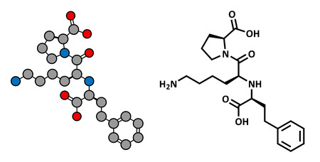 enzyme: Lisinopril hypertension or high blood pressure drug (ACE inhibitor), chemical structure. Conventional skeletal formula and stylized representation, showing atoms (except hydrogen) as color coded circles.