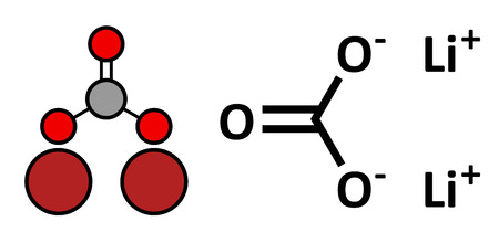 li: Lithium carbonate (Li2CO3) bipolar disorder drug, chemical structure. Conventional skeletal formula and stylized representation, showing atoms (except hydrogen) as color coded circles.  Illustration