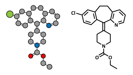 antihistamine: Loratadine antihistamine drug, chemical structure. Used to treat hay fever, urticaria and allergies. Conventional skeletal formula and stylized representation, showing atoms (except hydrogen) as color coded circles.