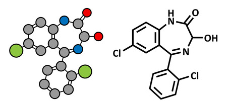 Lorazepam sedative and hypnotic drug (benzodiazepine class), chemical structure. Conventional skeletal formula and stylized representation, showing atoms (except hydrogen) as color coded circles.