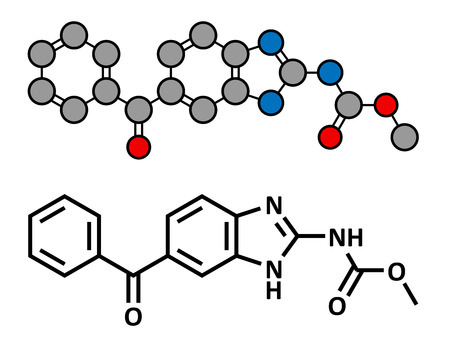 parasitic infestation: Mebendazole anthelmintic drug, chemical structure. Used to treat worm infestations. Conventional skeletal formula and stylized representation, showing atoms (except hydrogen) as color coded circles.