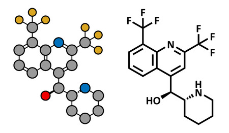 hydrogen: Mefloquine malaria drug, chemical structure. Conventional skeletal formula and stylized representation, showing atoms (except hydrogen) as color coded circles.