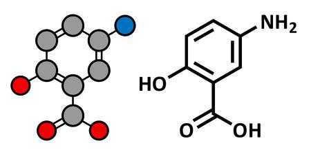bowel disease: La mesalazina (mesalamina, �cido 5-aminosalic�lico, 5-ASA) droga enfermedad inflamatoria intestinal, la estructura qu�mica. Se utiliza para tratar la colitis ulcerosa y enfermedad de Crohn. F�rmula esquel�tico convencional y representaci�n estilizada, mostrando �tomos (excepto hidr�geno) como