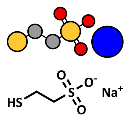 Mesna cancer chemotherapy adjuvant and mucolytic drug, chemical structure. Conventional skeletal formula and stylized representation, showing atoms (except hydrogen) as color coded circles.