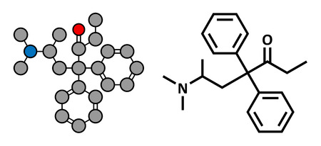 Methadone opioid dependency drug, chemical structure. Also used as analgesic. Conventional skeletal formula and stylized representation, showing atoms (except hydrogen) as color coded circles.