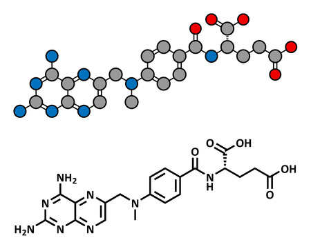 teratogenic: Methotrexate cancer chemotherapy and immunosuppressive drug, chemical structure. Conventional skeletal formula and stylized representation, showing atoms (except hydrogen) as color coded circles.