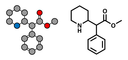 adhd: Methylphenidate attention-deficit hyperactivity disorder (ADHD) drug, chemical structure. Conventional skeletal formula and stylized representation, showing atoms (except hydrogen) as color coded circles.  Illustration