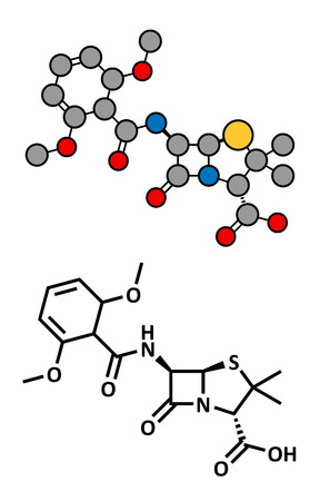 penicillin: Meticillin antibiotic drug (beta-lactam class), chemical structure. MRSA stands for Methicillin-resistant staphylococcus aureus. Conventional skeletal formula and stylized representation, showing atoms (except hydrogen) as color coded circles.