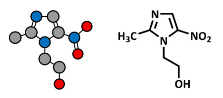 giardia: Metronidazole antibiotic drug (nitroimidazole class), chemical structure. Conventional skeletal formula and stylized representation, showing atoms (except hydrogen) as color coded circles.