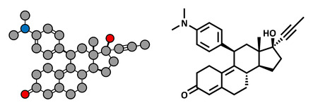 contraceptive: Mifepristone abortion inducing drug, chemical structure. Also used as emergency contraceptive agent. Conventional skeletal formula and stylized representation, showing atoms (except hydrogen) as color coded circles.