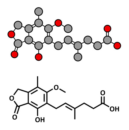 Mycophenolate (mycophenolic acid) immunosuppressive drug, chemical structure. Used to prevent transplant rejection and in treatment of autoimmune disease. Conventional skeletal formula and stylized representation, showing atoms (except hydrogen) as color