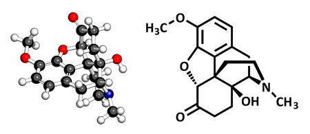 palliative: Oxycodone pain relief drug, chemical structure. Conventional skeletal formula and stylized representation, showing atoms (except hydrogen) as color coded circles.  Illustration