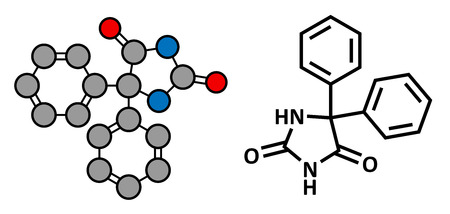 anticonvulsant: Phenytoin epilepsy drug, chemical structure. Conventional skeletal formula and stylized representation, showing atoms (except hydrogen) as color coded circles.  Illustration