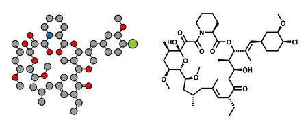 immunosuppressant: pimecrolimus eczema (atopic dermatitis) drug, chemical structure. Conventional skeletal formula and stylized representation, showing atoms (except hydrogen) as color coded circles.  Illustration