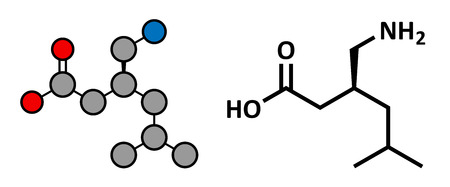 fibromyalgia: Pregabalin epilepsy and fibromyalgia drug, chemical structure. Conventional skeletal formula and stylized representation, showing atoms (except hydrogen) as color coded circles.  Illustration