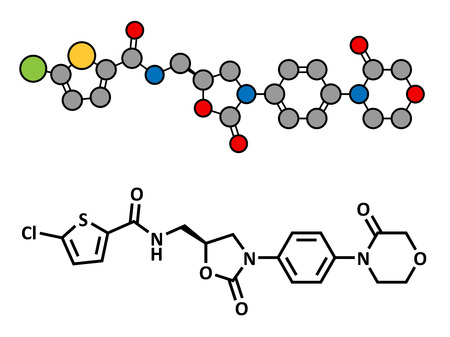 Rivaroxaban anticoagulant drug (direct factor Xa inhibitor), chemical structure. Conventional skeletal formula and stylized representation, showing atoms (except hydrogen) as color coded circles.
