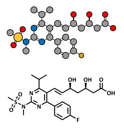 lowering: Rosuvastatin cholesterol lowering drug (statin class), chemical structure. Conventional skeletal formula and stylized representation, showing atoms (except hydrogen) as color coded circles.