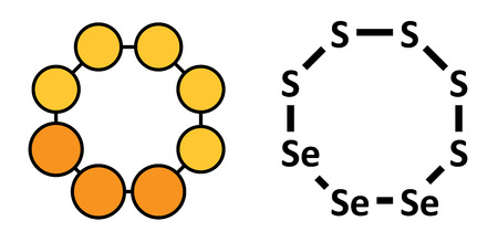 disulfide: Selenium disulfide dandruff shampoo active ingredient, chemical structure. Selenium sulfide has antifungal properties. Conventional skeletal formula and stylized representation, showing atoms (except hydrogen) as color coded circles.