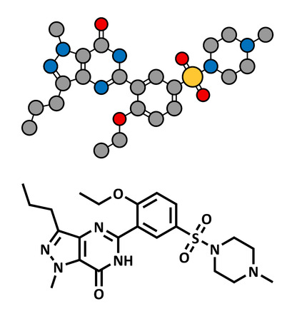dysfunction: Sildenafil erectile dysfunction drug, chemical structure. Conventional skeletal formula and stylized representation, showing atoms (except hydrogen) as color coded circles.  Illustration