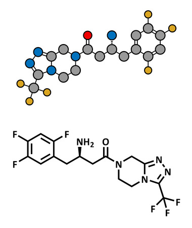 fluorine: Sitagliptin diabetes drug, chemical structure. Conventional skeletal formula and stylized representation, showing atoms (except hydrogen) as color coded circles.