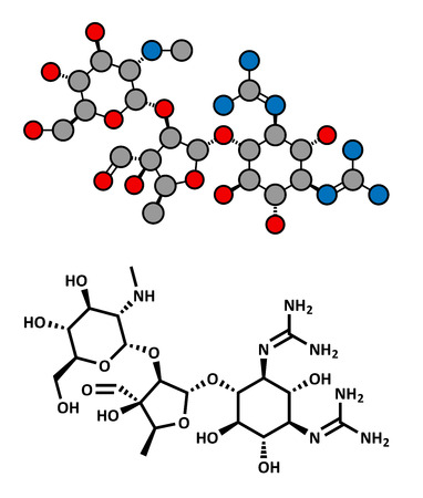 mycobacterium tuberculosis: Streptomycin tuberculosis antibiotic (aminoglycoside class), chemical structure. Conventional skeletal formula and stylized representation, showing atoms (except hydrogen) as color coded circles.