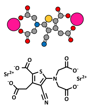 strontium: Strontium ranelate osteoporosis drug, chemical structure. Conventional skeletal formula and stylized representation, showing atoms (except hydrogen) as color coded circles.  Illustration