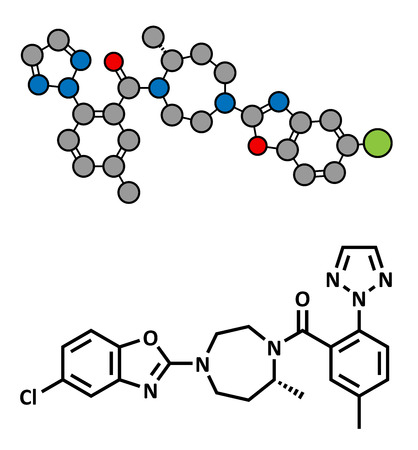 sleepiness: Suvorexant insomnia drug (sleeping pill), chemical structure. Dual orexin receptor antagonist (DORA) Conventional skeletal formula and stylized representation, showing atoms (except hydrogen) as color coded circles.