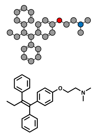 Tamoxifen cancer drug, chemical structure. Conventional skeletal formula and stylized representation, showing atoms (except hydrogen) as color coded circles. Vector Illustration