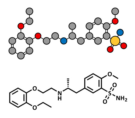 benign: Tamsulosin benign prostatic hyperplasia (BPH) drug, chemical structure. Conventional skeletal formula and stylized representation, showing atoms (except hydrogen) as color coded circles.