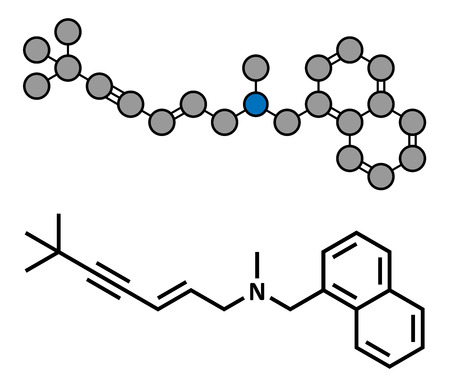 fungal: Terbinafine antifungal drug, chemical structure. Conventional skeletal formula and stylized representation, showing atoms (except hydrogen) as color coded circles.